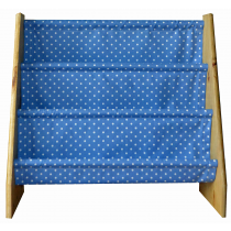 Pine book sling with blue/white polka dot print