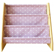 Pine book sling with mauve dotty print