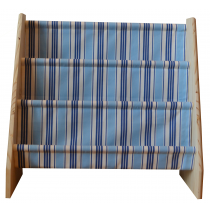 Pine book sling with deckchair stripe blue print