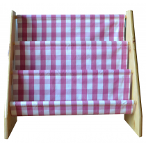 Pine book sling with pink and white check print